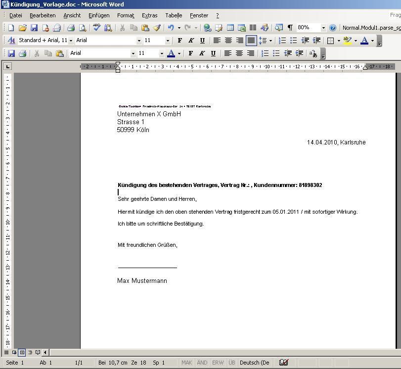 Screenshot vom Programm: Contract Manager DiTu