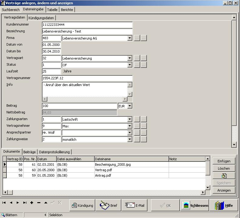 Screenshot vom Programm: Contract Manager DiTu
